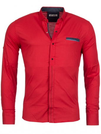 Chemise homme italienne rouge klap 6208 - Chemise homme fashion coupe italienne cintree ...