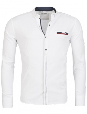 Chemise homme italienne blanc klap 6208 - Chemise homme fashion coupe italienne cintree ...
