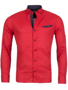 chemise homme italienne rouge CRYL 6209