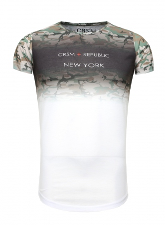T-shirt homme camouflage blanc 407