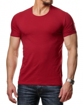 T-shirt basic homme col rond rouge 171