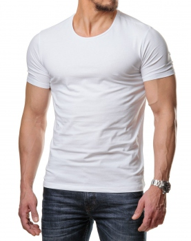T-shirt basic homme blanc col rond  171