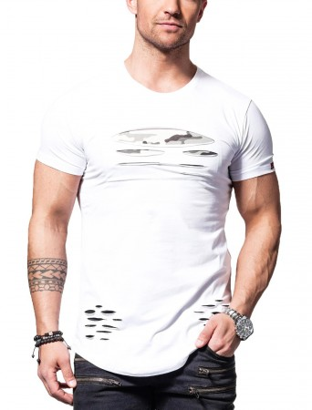 t shirt homme camouflage trou blanc 1114. Black Bedroom Furniture Sets. Home Design Ideas