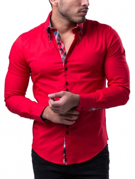 chemise homme fashion italienne rouge  110