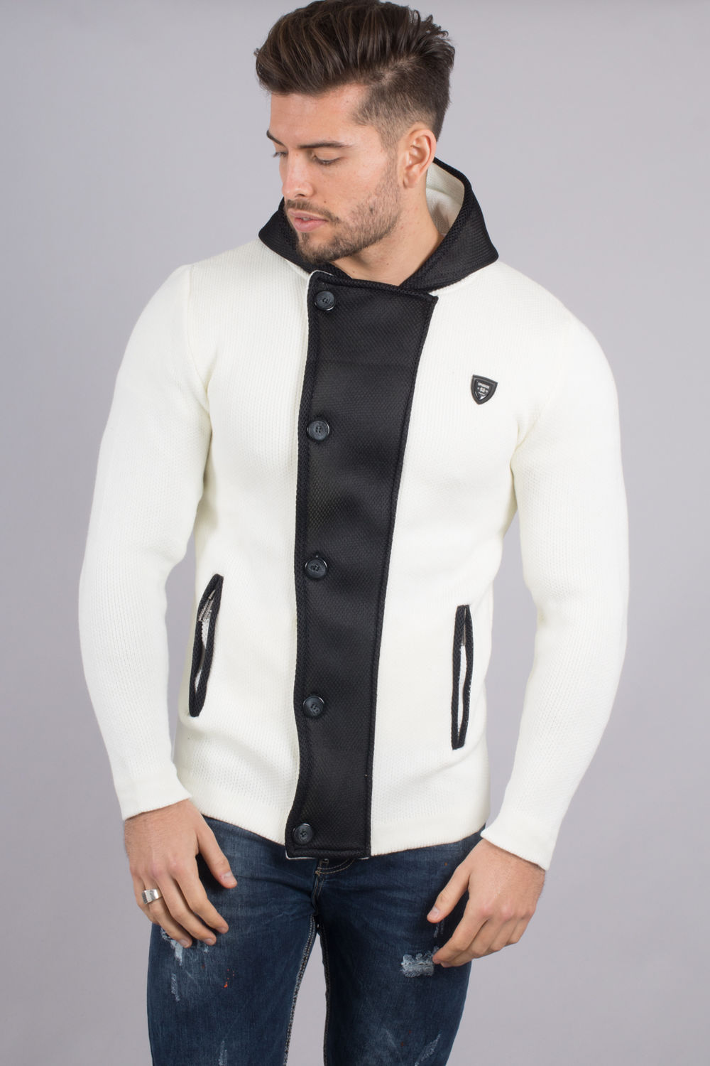 new high online store sports shoes Gilet cardigan homme blanc 129