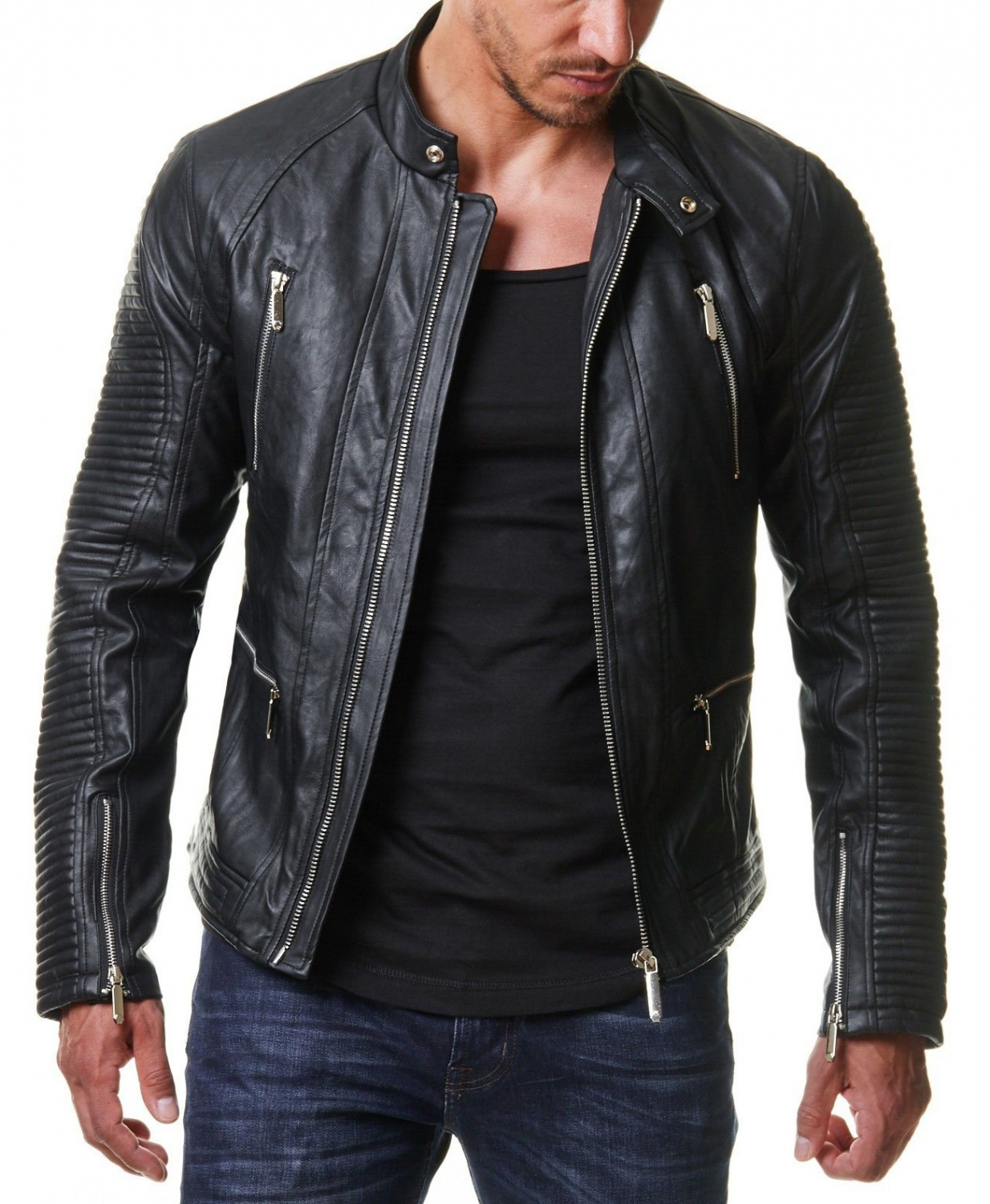 blouson homme biker. Black Bedroom Furniture Sets. Home Design Ideas