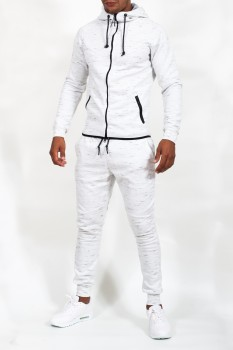 ensemble de jogging  homme  blanc chiné