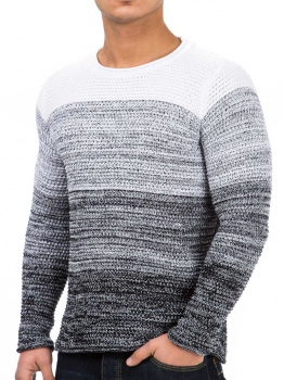 Pull homme contrastant blanc BUSTER 754