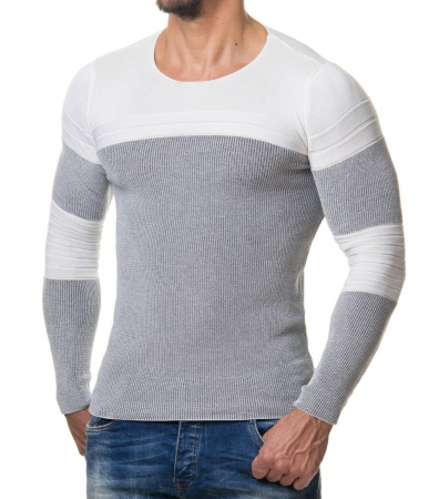 Pull homme  blanc typo 633