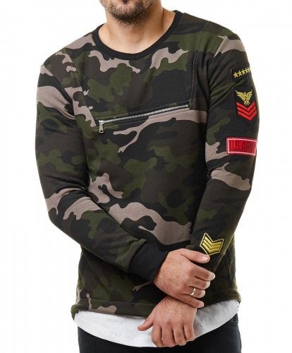 pull homme camouflage patchs 760