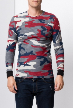 pull homme camouflage rouge 712