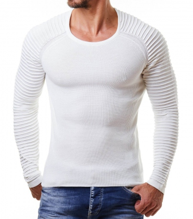 Pull homme blanc  typo 695