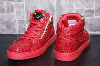 Sneakers homme rouge montante  snake 65