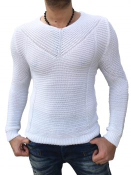 Pull homme moulant blanc 176