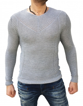 Pull homme moulant gris 176