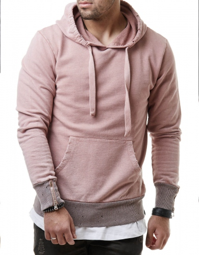 Sweat à capuche  homme rose stone 346