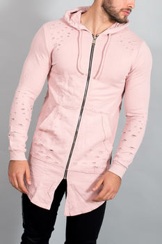 Gilet homme destroy  rose 063