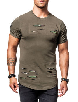 t shirt homme kaki d chir camouflage 141. Black Bedroom Furniture Sets. Home Design Ideas