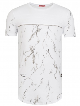 T-shirt homme tunique marbré blanc 104