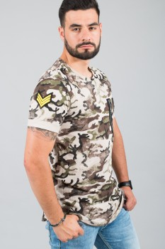 T-shirt homme tunique camo kaki 15230