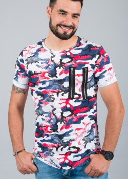 T-shirt homme tunique camo rouge 15230