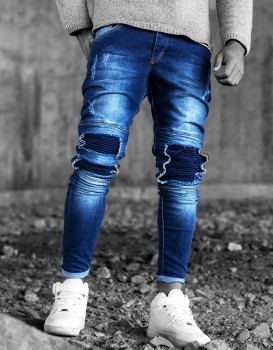 jeans homme skinny destroyed bleu 323