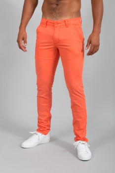 Chino homme slim orange pastel  571