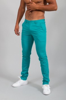 Chino homme slim bleu turquoise   571