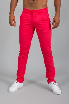 Chino homme slim rouge pastel   571