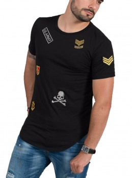 T-shirt homme noir patch Army 1614