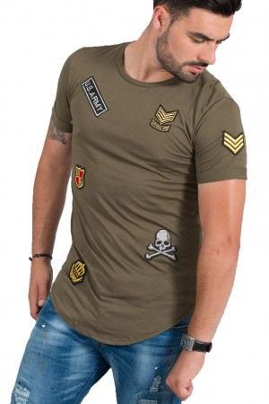 T-shirt homme kaki patch Army 1614