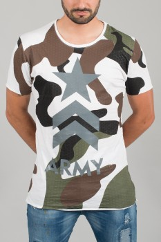 T-shirt homme blanc Army 1513