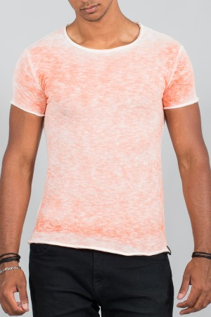 T-shirt homme délavé orange 390
