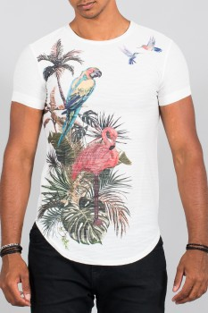 T-shirt homme tropical blanc 1006