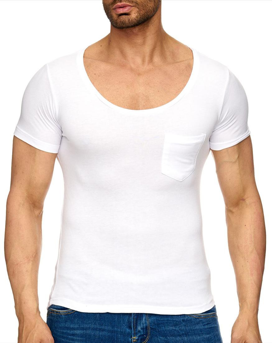 T shirt homme col rond profond 7387