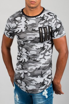 T-shirt homme camouflage gris 16118
