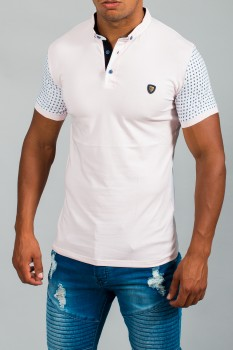 polo homme rose slimfit 4539