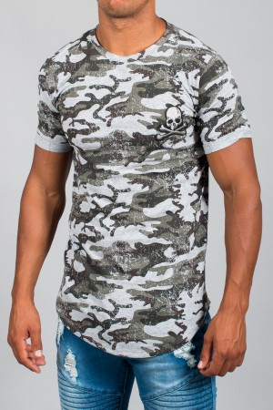 T-shirt homme camouflage gris clair 6551
