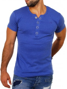 T-shirt col v bleu chiné MIDDLE 172