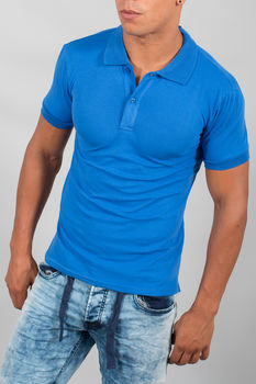 polo homme basic bleu royale