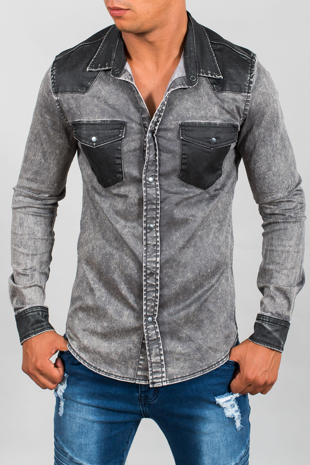 Homme Huilées Chemise Jeans Poches Gris 2093 ygYfb76v