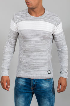 pull homme blanc chiné 3011
