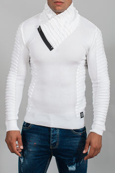 pull homme blanc col châle 3101
