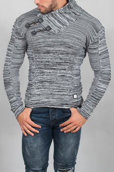 pull homme noir/blanc col montant 3126