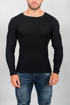 pull homme maille fine noir 1906
