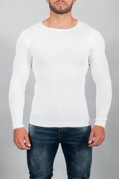 pull homme maille fine blanc 1906