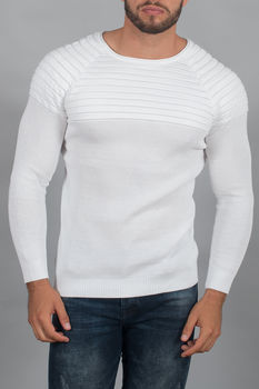 pull homme blanc maille fine 3129