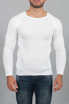 pull homme blanc maille fine 3022