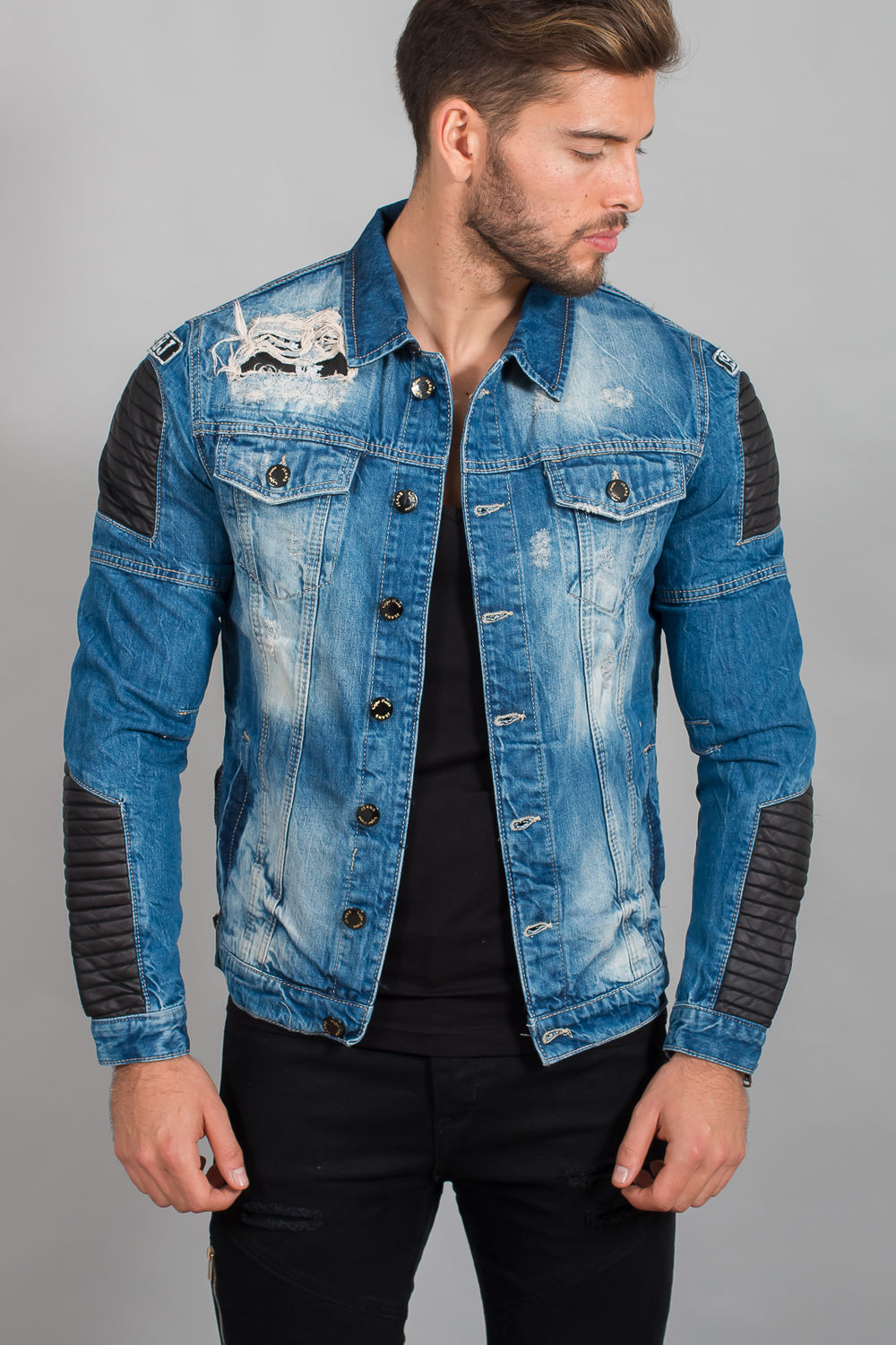 veste en jean troue homme site de v tements en jean la. Black Bedroom Furniture Sets. Home Design Ideas
