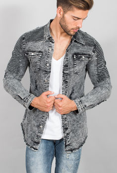 chemise homme jeans grise 33170